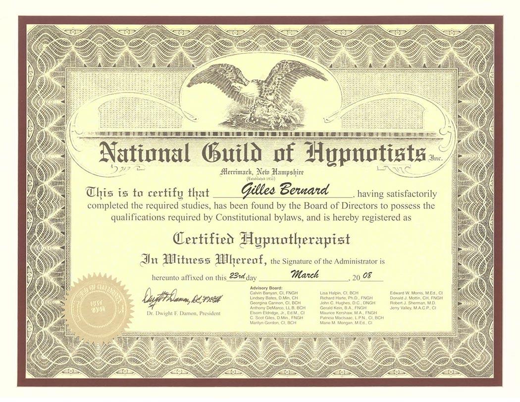 Biography, Gilles Bernard certified Clinical Hypnotherapist